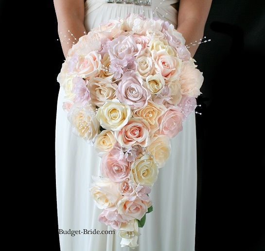 Cascading Teardrop Wedding Flower Bouquet with blush pink, lavender and ivory flowers with pearls