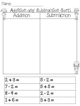 Addition and Subtraction, sort and solve! 4 exercises to practice sorting and solving!Please leave feedback for more freebies! :)