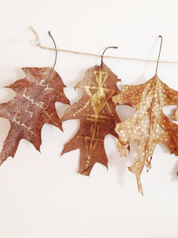 Gilded leaves garland bohemian wall decor by TheHipsterHousewife: