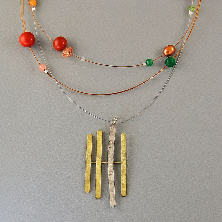 Multistrand iron cord necklace with brass and alpaca parallel lines pendant, orange, green acai beads and jade, orange fresh water pearl by NataliaNorenasilver on Etsy