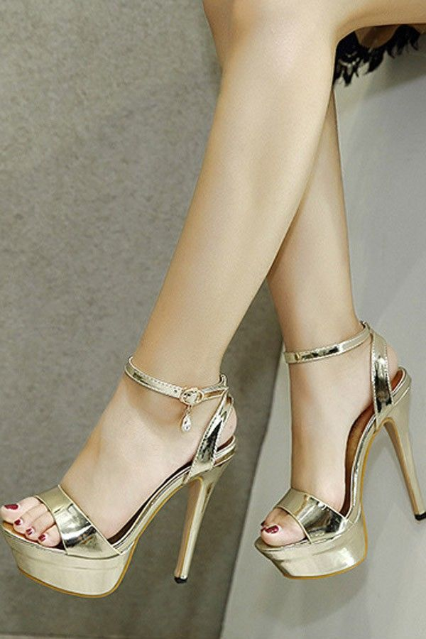 5ff1b95c5699 Gold Open Toe Pendant Decor Ankle Strap Metallic Platform Stiletto High  Heels in 2019
