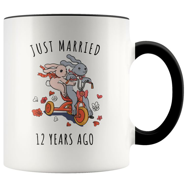 Just Married 12 Years Ago 12th Wedding Anniversary Gift Accent