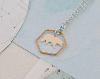 Collana geometrica orso orso collana testa di BonnyRabbitBoutique