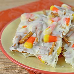 Halloween Candy Corn Pretzel Bark,