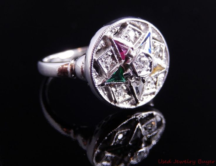 Order of the Eastern Star OES 14k White Gold Diamond ...