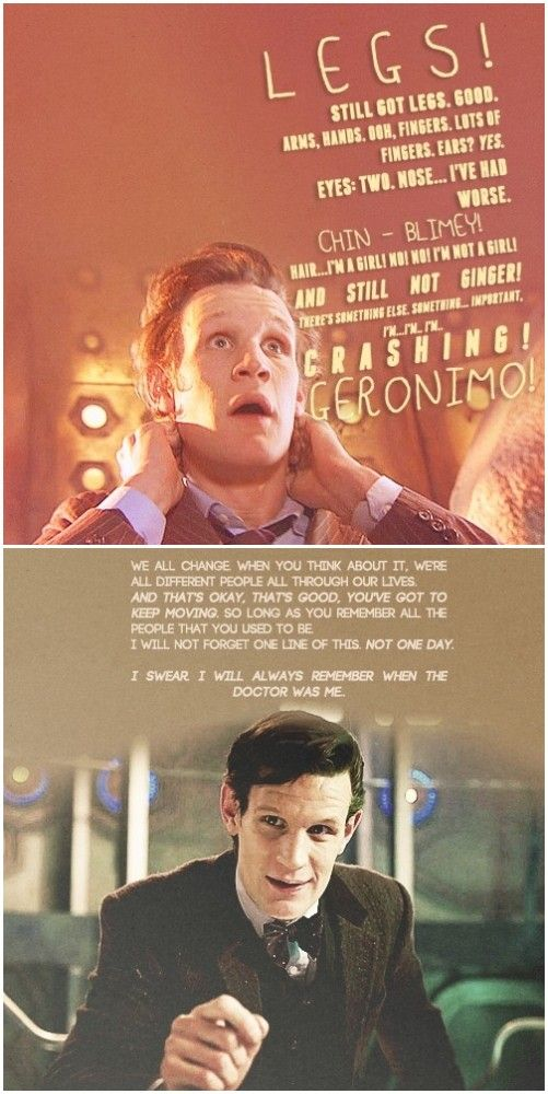 i think his actual first words were more along the lines of, AAAAAAAAAAAAAAAAAAAAAAAAAAAAAAAAAAAAAAAAAAAAAAAA, cause he was in the tardis and could not control it