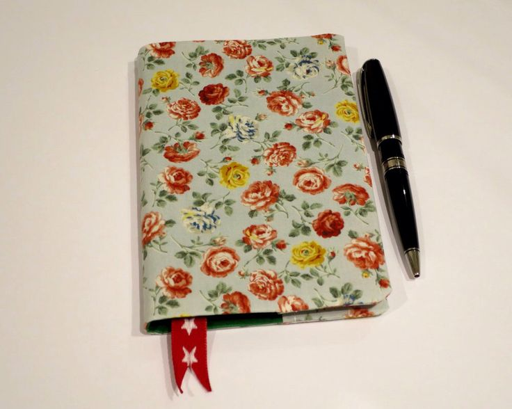 Fabric Book Cover with Bookmark, Suits A6 Notebook, Bonus Notebook Included, Floral Print Cotton Fabric, Notebook for Handbag, Elegant Gift by JadoreBooks on Etsy https://www.etsy.com/listing/261124223/fabric-book-cover-with-bookmark-suits-a6
