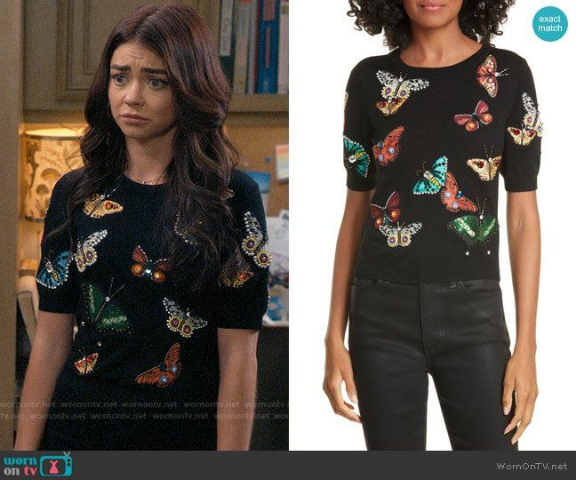 Haley S Embellished Butterfly Top On Modern Family In 2020 Butterfly Sweater Fashion Tv Modern Family