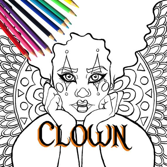 Halloween Harlequin Circus Clown Adult Coloring Page by IvyLilyArt. Harlequin Circus Clown Adult Coloring Page and Digital Stamp for Halloween. Downloadable and printable coloring page of a woman in harlequin clown costume and makeup with lots of patterns in the background and CIRCUS sign.