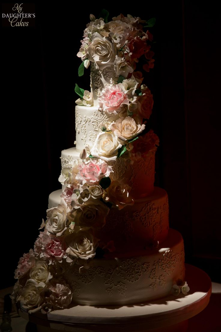 wedding cakes northern new jersey%0A Elegant lace wedding cake with sugar flowers of roses  peonies  lisianthus   hydrangea by