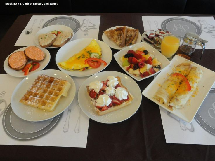 at Savoury and Sweet Restaurant 3770 Bridgewater Street Niagara Falls Ontario, Breakfast treats include French Toast with bacon  and fruit salad, Three Egg Cheese Omelettte, Crepes, Waffles and home made spreads