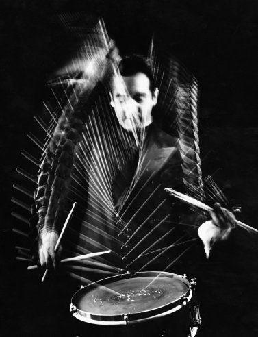 Drummer Gene Krupa at Gjon Mili's studio, 1941.