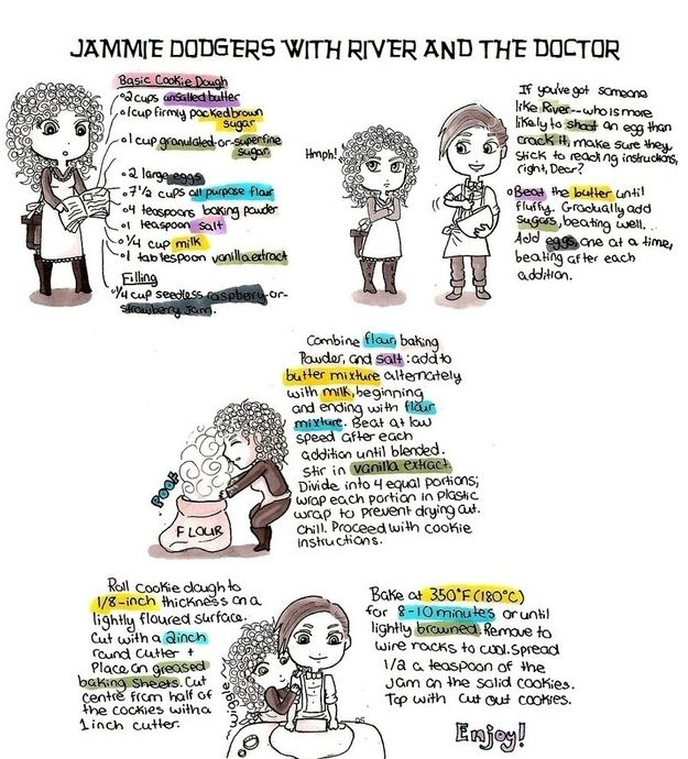 River And The Doctor Share Their Jammie Dodger Recipe ( original source - http://www.dianasdesserts.com/index.cfm/fuseaction/recipes.recipeListing/filter/dianas/recipeID/783/Recipe.cfm)