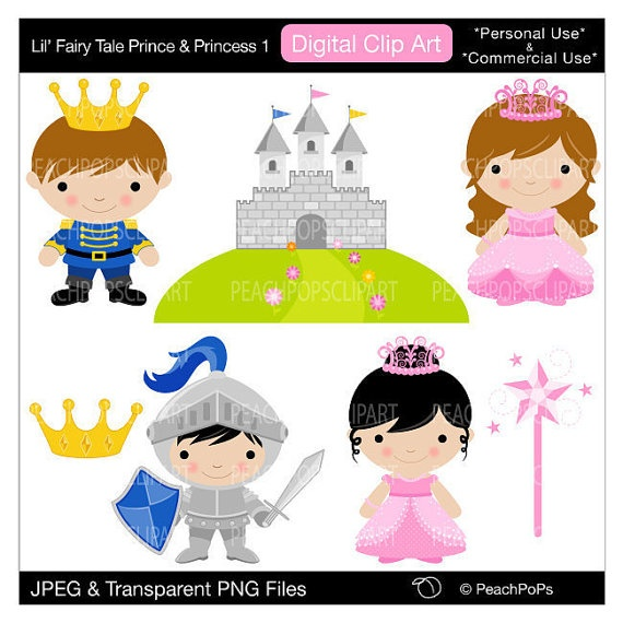 lil fairy tale prince and princess by peachpopsclipart - personal & commercial use
