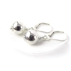 Look what I found by Nikki Hills Design. These gorgeous Sterling Silver Bead Drop Earrings are the perfect Stocking Filler for Her this Christmas.  Gift for Her Silver Bead Earrings Dangle Earrings Short Earrings Silver Earrings Gift for Wife Girlfriend Sister Best Friend Minimal Earrings