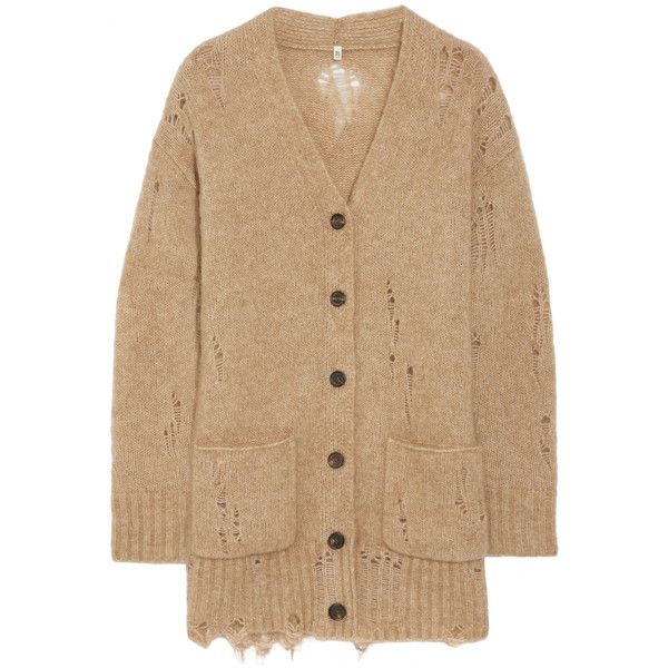 R13 Distressed knitted cardigan (€645) ❤ liked on Polyvore featuring tops, cardigans, camel, ripped tops, beige top, camel cardigan, cardigan top and beige cardigan