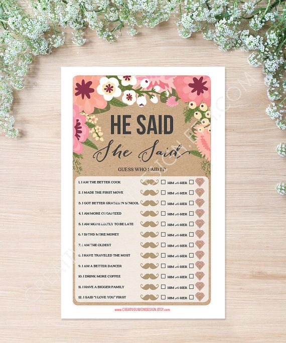 He Said She Said Bridal Shower Game. Everyone will love playing this fun Bridal Shower game! By CreativeUnionDesign.Etsy.com