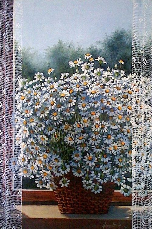 Turkish painter Fusun Urkun  There was a huge vase of these flowers on the table in the lobby where we spent our honeymoon.