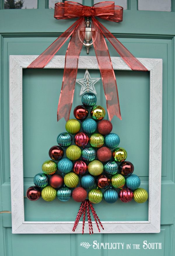 Christmas tree ~~ out of ornaments! This would be perfect for me! I seem to add more ornaments each year, but keep the old ones too!