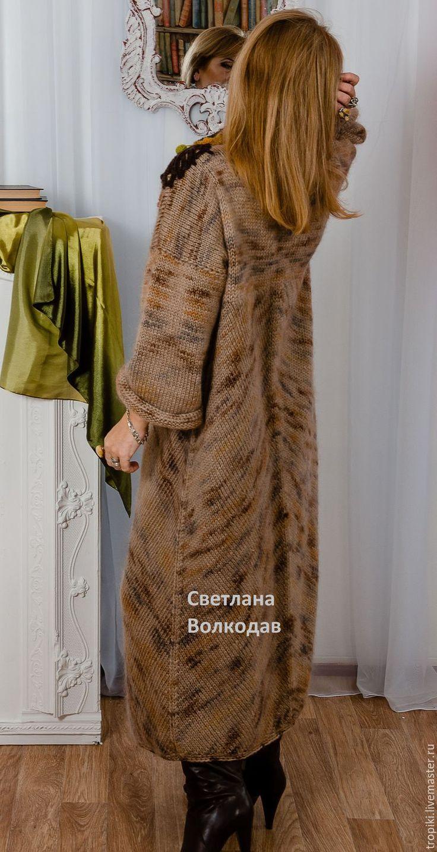 """Купить Пальто вязаное """" Золотая осень"""" - бежевый, вязаное пальто, женское пальто"""