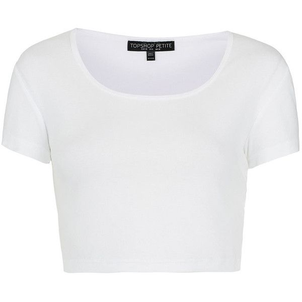 TOPSHOP Petite Crop Top ($16) ❤ liked on Polyvore featuring tops, shirts, crop tops, crop, white, petite, topshop, cotton shirts, white crop shirt and shirts & tops