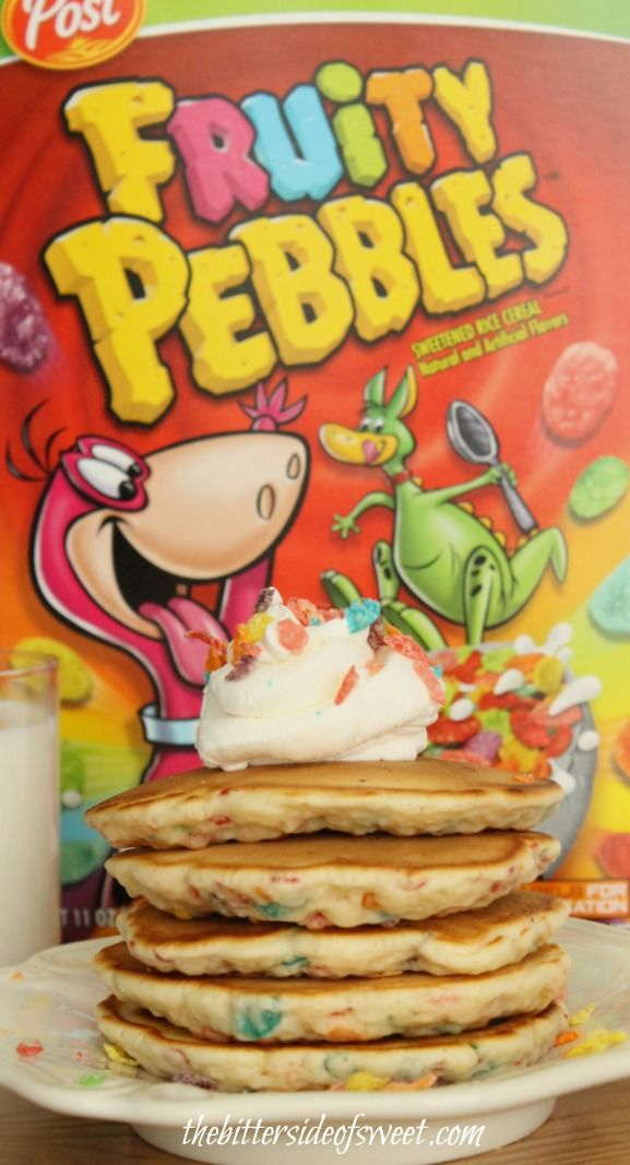 Fruity Pebbles Pancakes with Vanilla Whipped Cream - theBitterSideofSweet
