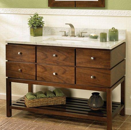 Fairmont designs windwood vanity 111 vh48 i love the combination of this vanity 39 s clean lines for Bathroom vanities with open bottom shelf