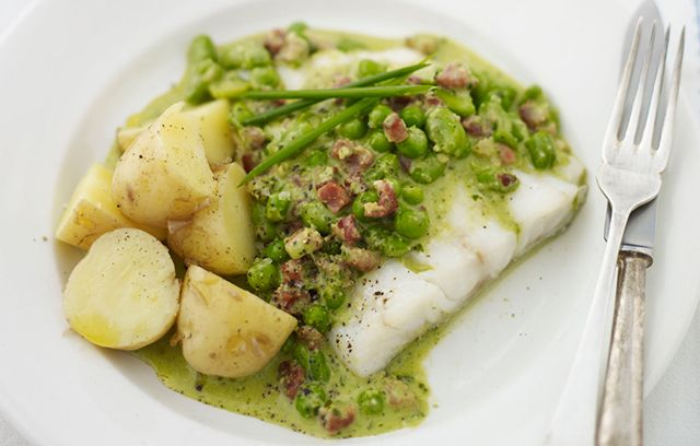 Grilled Cod Fillet with Pancetta and Pesto Sauce