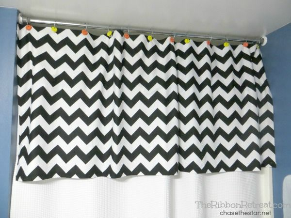 Different colors-love the idea!  No Sew Shower Curtain Valance - The Ribbon Retreat Blog