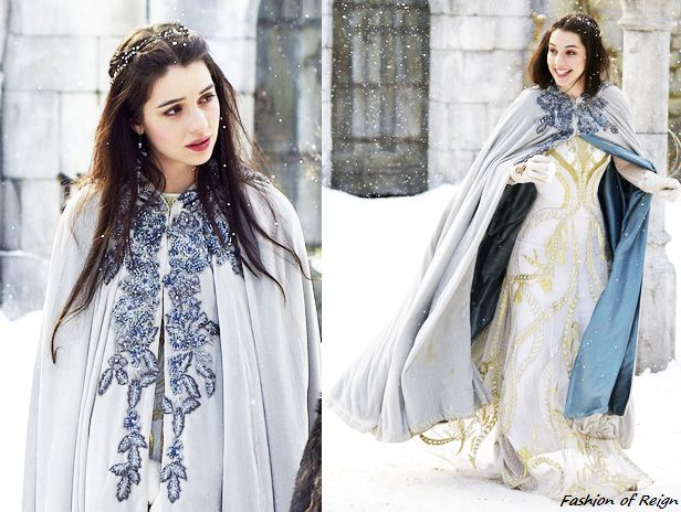 In the nineteenth episode Mary wears this gorgeous Reign Costumes Original Blue Embroidered Cape! Worn with the Temperley London gown, Philippa Kunisch earrings, Reign Costumes custom gloves.