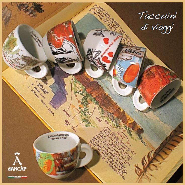 Cappuccinokopjes taccuini di viaggi. Sterk porselein met prachtige decoratie van reisverhalen over de hele wereld.