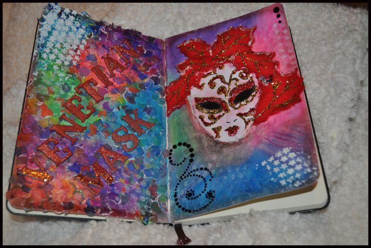 art journal venetian mask inspired by leonid afremov