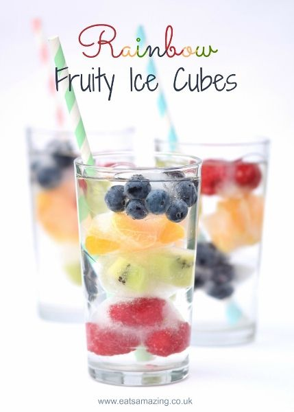 Fun way to get kids to drink water - make rainbow fruit ice cubes for summer drinks - easy healthy recipe from Eats Amazing UK