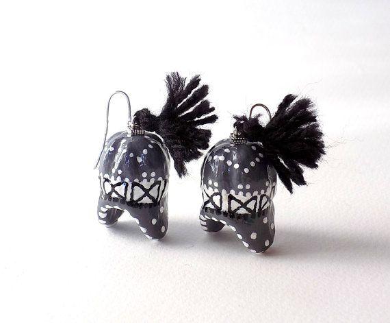 Boho Earrings, Grey, Earrings, Grey-Black, Ethnic Jewelry, Cork Jewelry, Unique Earrings, Winter Caps, Gifts for women, Winter hats