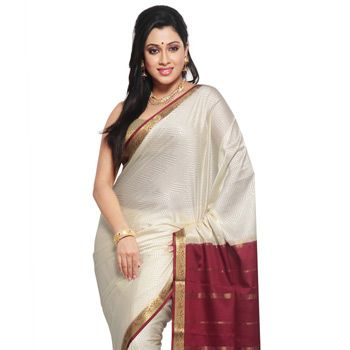 Cream Pure Mysore Silk Traditional South Indian Saree with Blouse Online Shopping: SKL2313