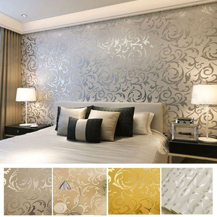 details about victorian damask luxury wallpaper 3d feature wall silver grey gold - Bedroom Wallpaper Designs Ideas