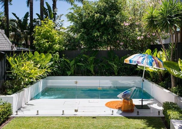 You don't have to have a big backyard to fit in a pool — and if you do have a big backyard, the pool doesn't have to take up the entire thing