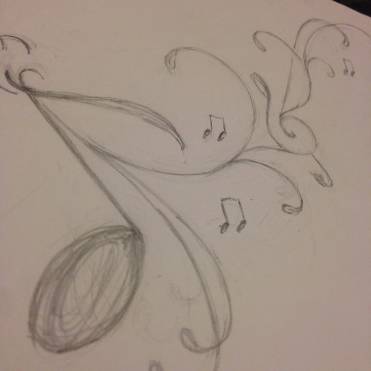 Music note tattoo idea pencil sketch. | Pencil Sketches ...