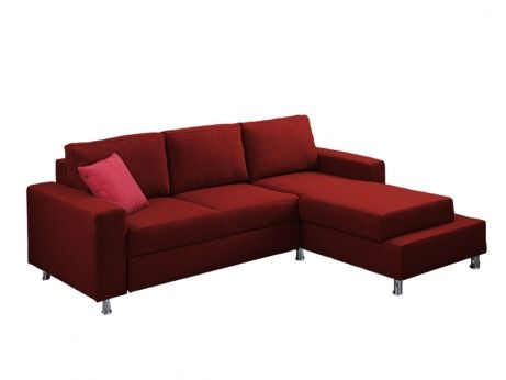 Canapé d'angle convertible en tissu ANTHONY - Rouge - Angle droit