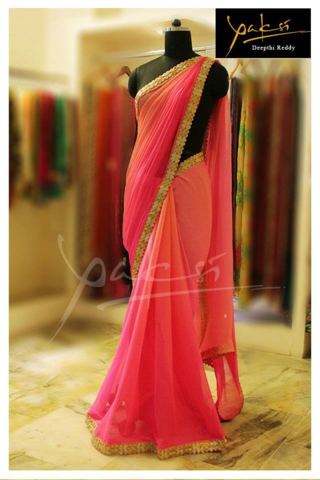 Coral to pink ombre sari