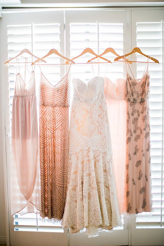 Mix and match bridesmaid dresses in shades of blush pink (I would prefer if they were shorter though!)