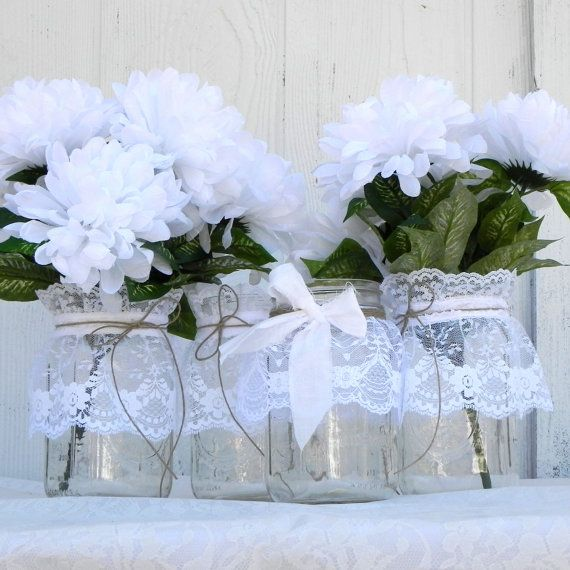 3 Rustic Lace Mason Jars Wedding Table Decoration by LavaGifts, $20.00