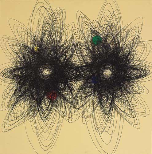 """[Roberto Crippa] Spirali, anni 50 - Con il gesto geometrico quasi-circolare (ma mai perfettamente tondo) Crippa creava degli spazi involuti, da cui si generavano raggi che idealmente si proiettavano fuori dalla bidimensionalità della tela, in linea coi principi del """"Manifesto"""" spazialista."""