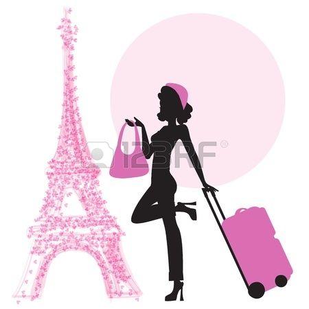 jeune femme avec une valise � Paris, illustration au format vectoriel photo