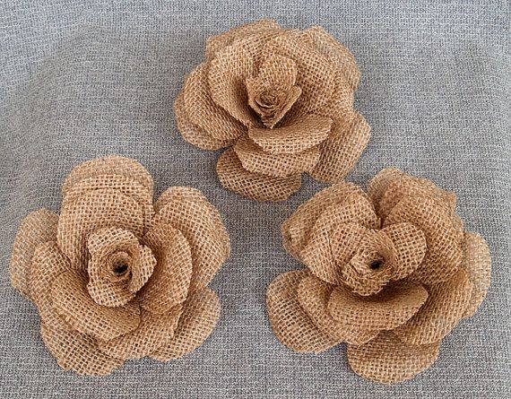 3 large burlap flower rustic wedding decoration craft for Burlap flower template