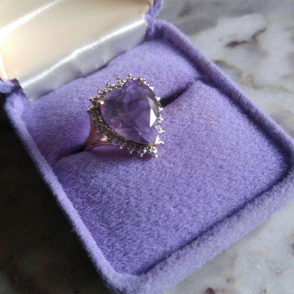 14-15-carat-Purple-heart-stone-+-Diamond-10-k-Gold-Ring 4