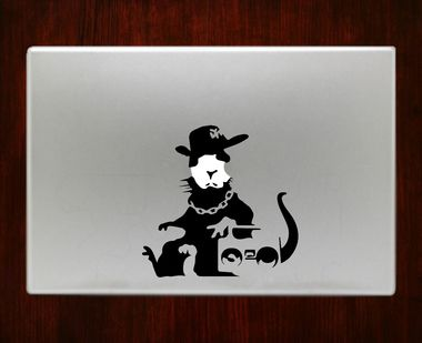 Banksy Rat WIth Apple Face Graffiti Macbook Decal Stickers