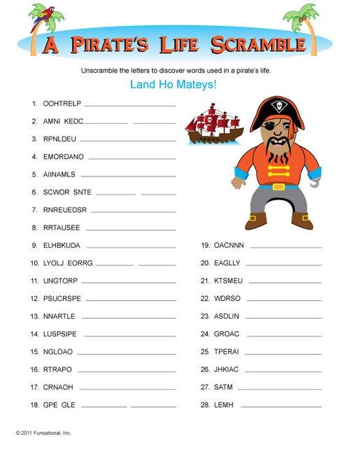 Printable Pirate Games--Pirate Theme Week