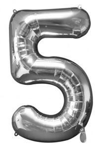 5 Sayısı Gümüş, Supershape Folyo Balon Uçan balon, balon buketi için www.partipaketi.com