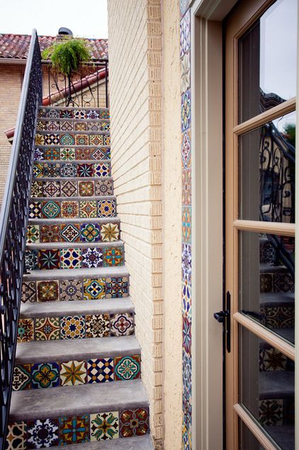 Ref- If I had a windfall I'd love to do this style stair tiling from road to house.  Secret delights :) mediterranean staircase by English Heritage Homes of Texas